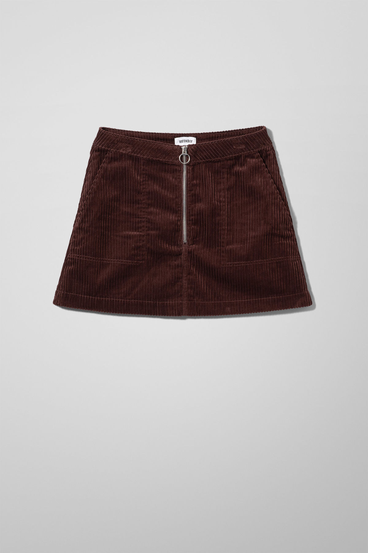 Front image of Weekday piet mini skirt in brown