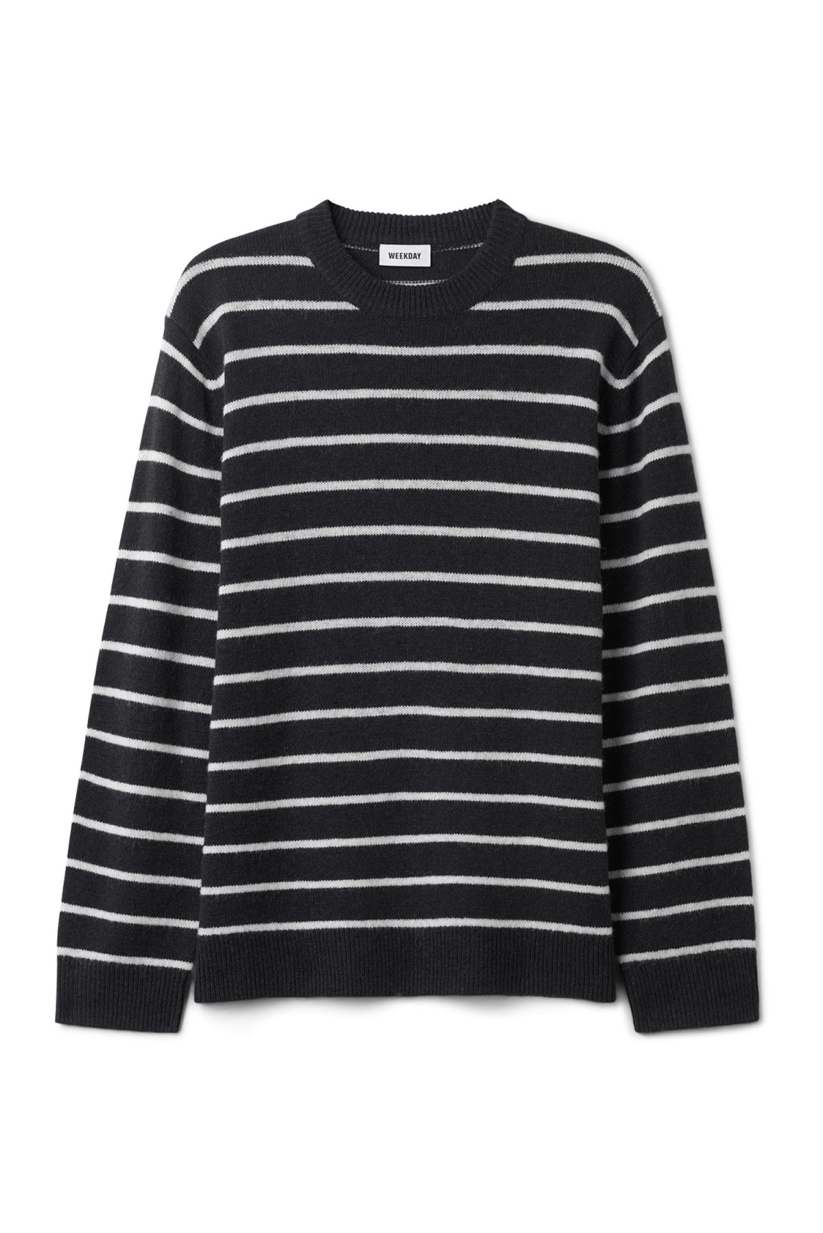 Front image of Weekday vinci stripe sweater  in blue