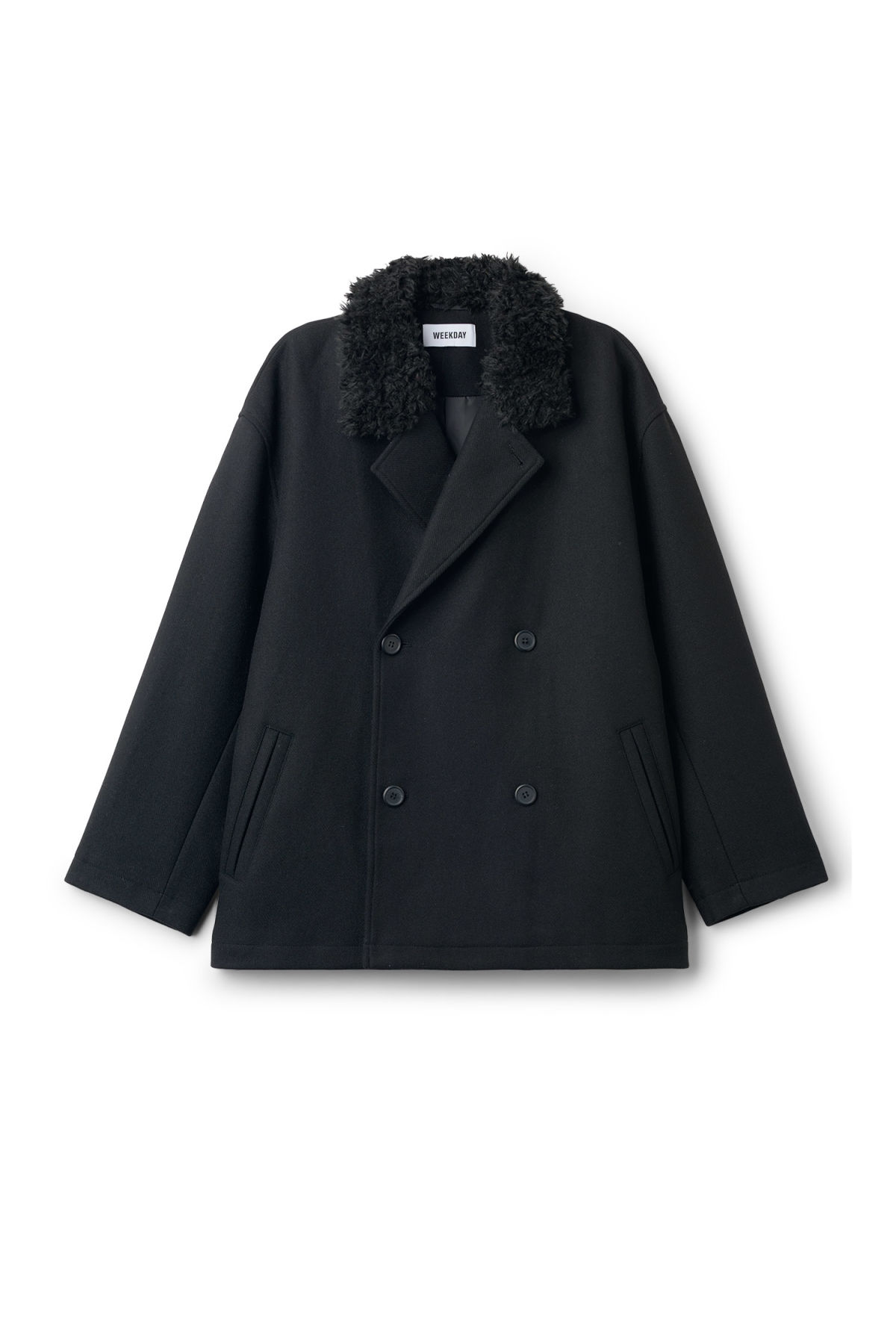 Front image of Weekday clef peacoat in black