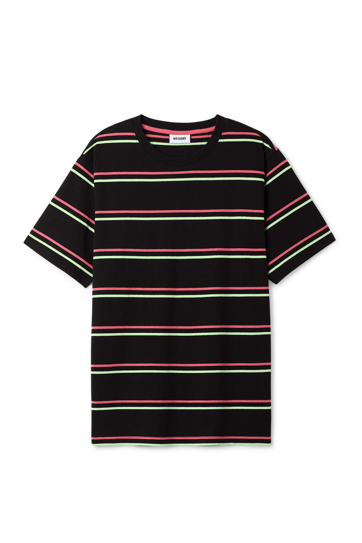 Front image of Weekday frank striped t-shirt  in black