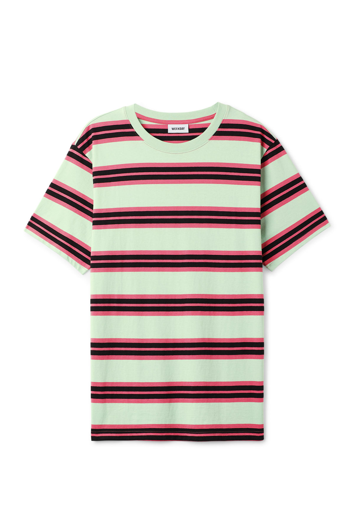 Front image of Weekday frank striped t-shirt  in green