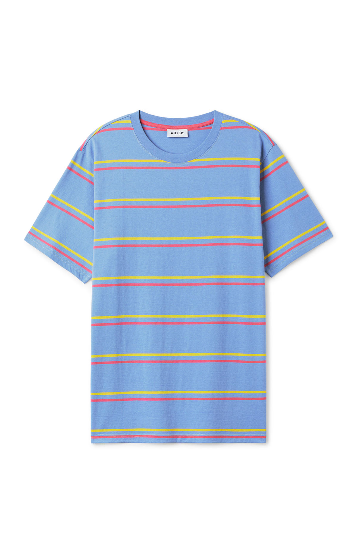 Front image of Weekday frank striped t-shirt  in blue