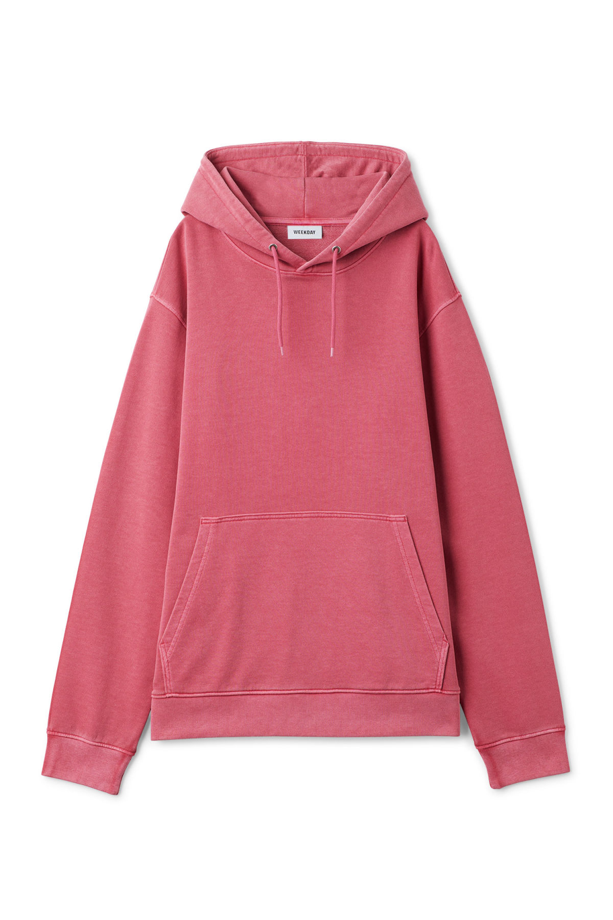 Front image of Weekday hawk washed hoodie in pink