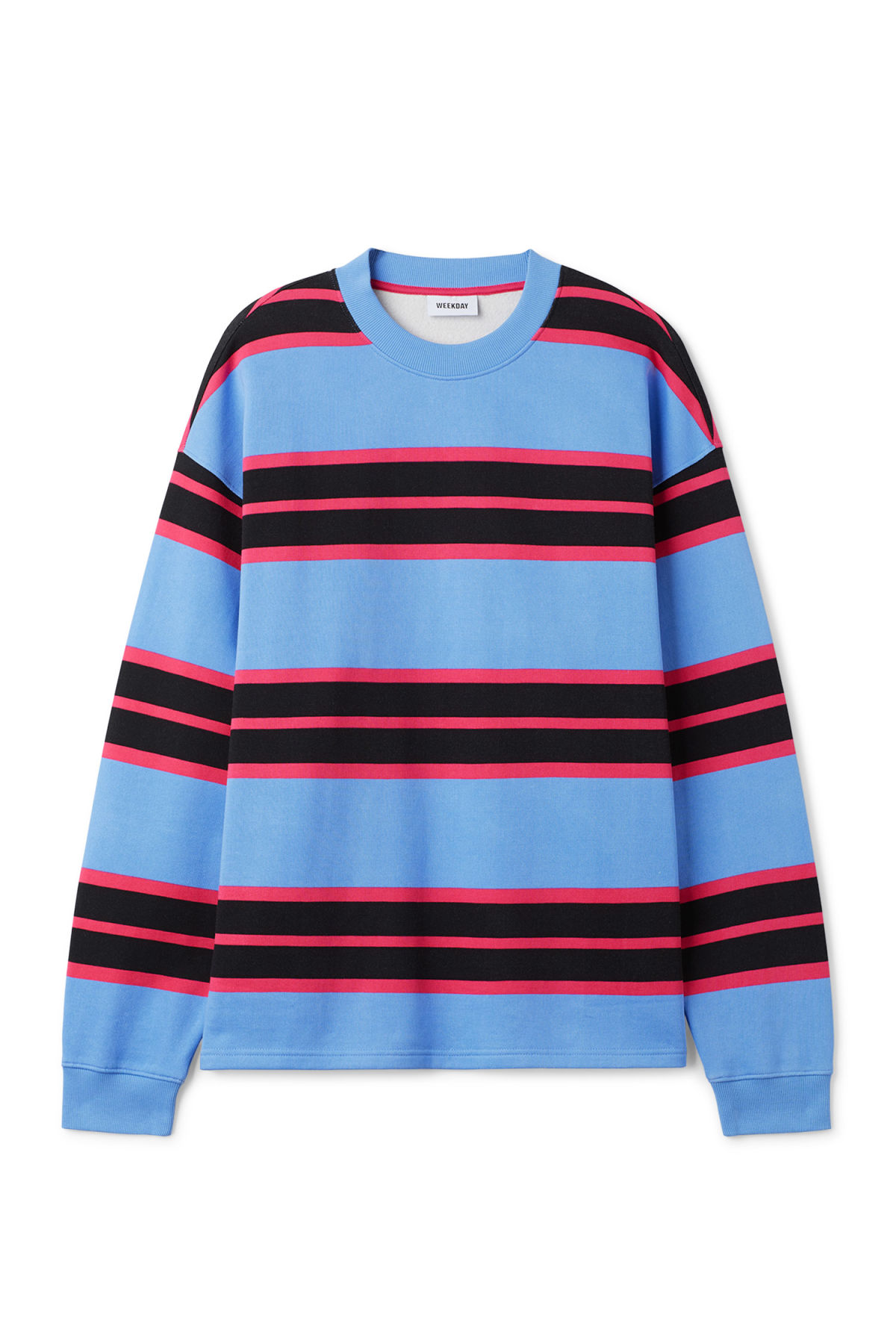 Front image of Weekday sid striped sweatshirt in blue