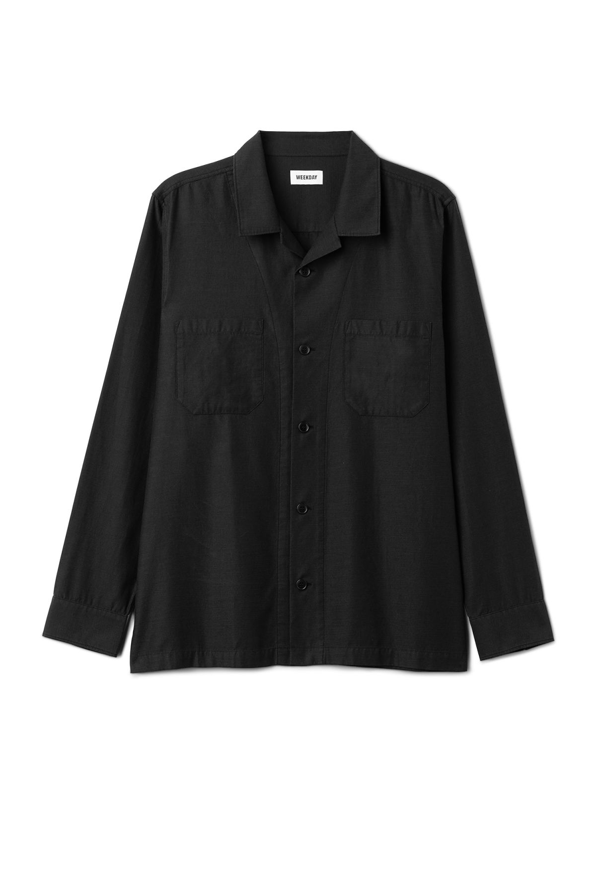 Front image of Weekday bean shirt in black
