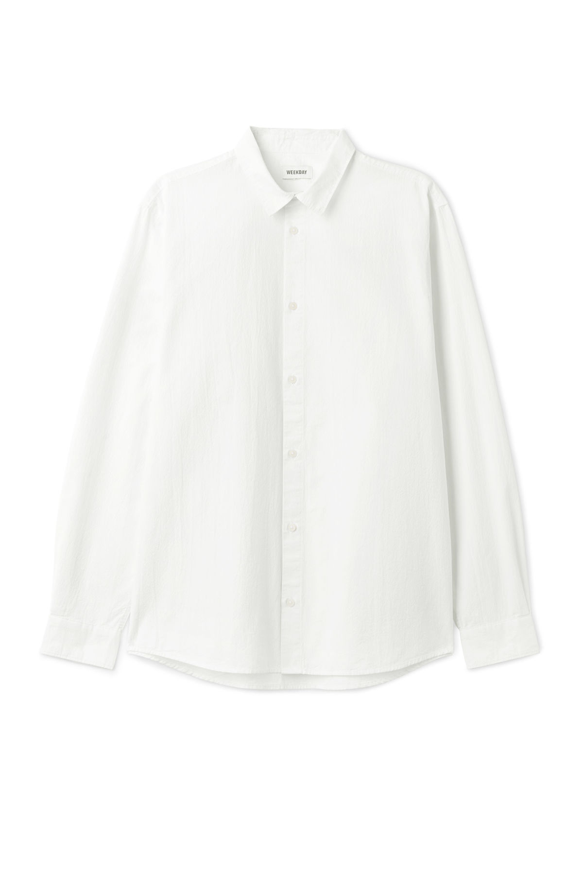 Front image of Weekday pablo structured shirt in white