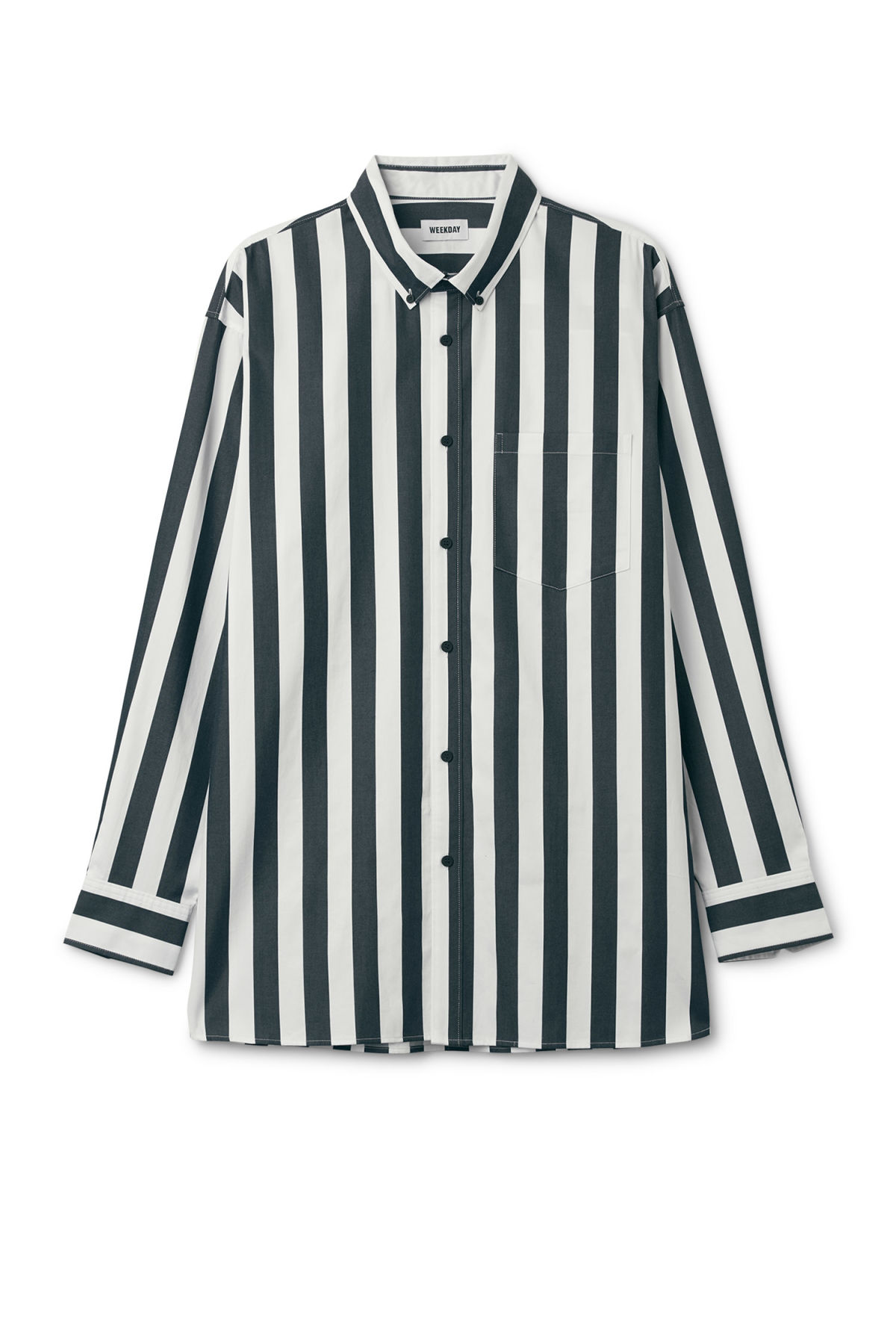Front image of Weekday burg stripe shirt  in white