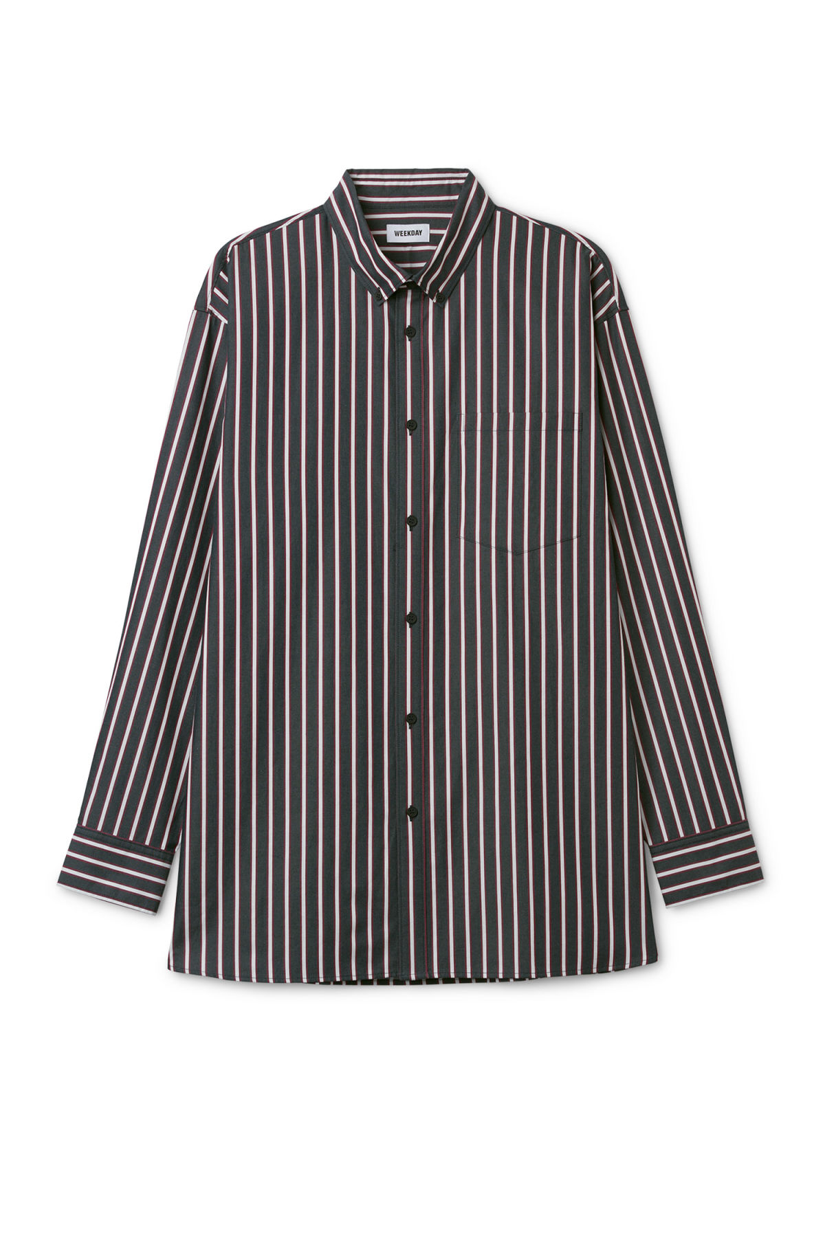 Front image of Weekday burg stripe shirt  in blue