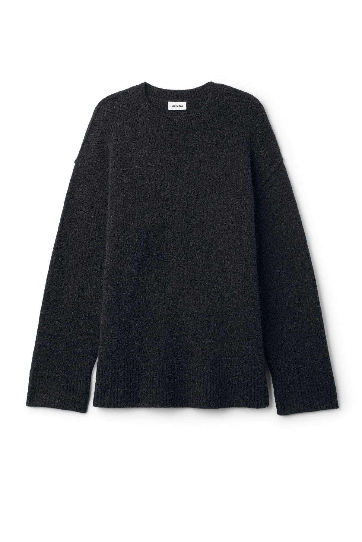Front image of Weekday cutter sweater in black