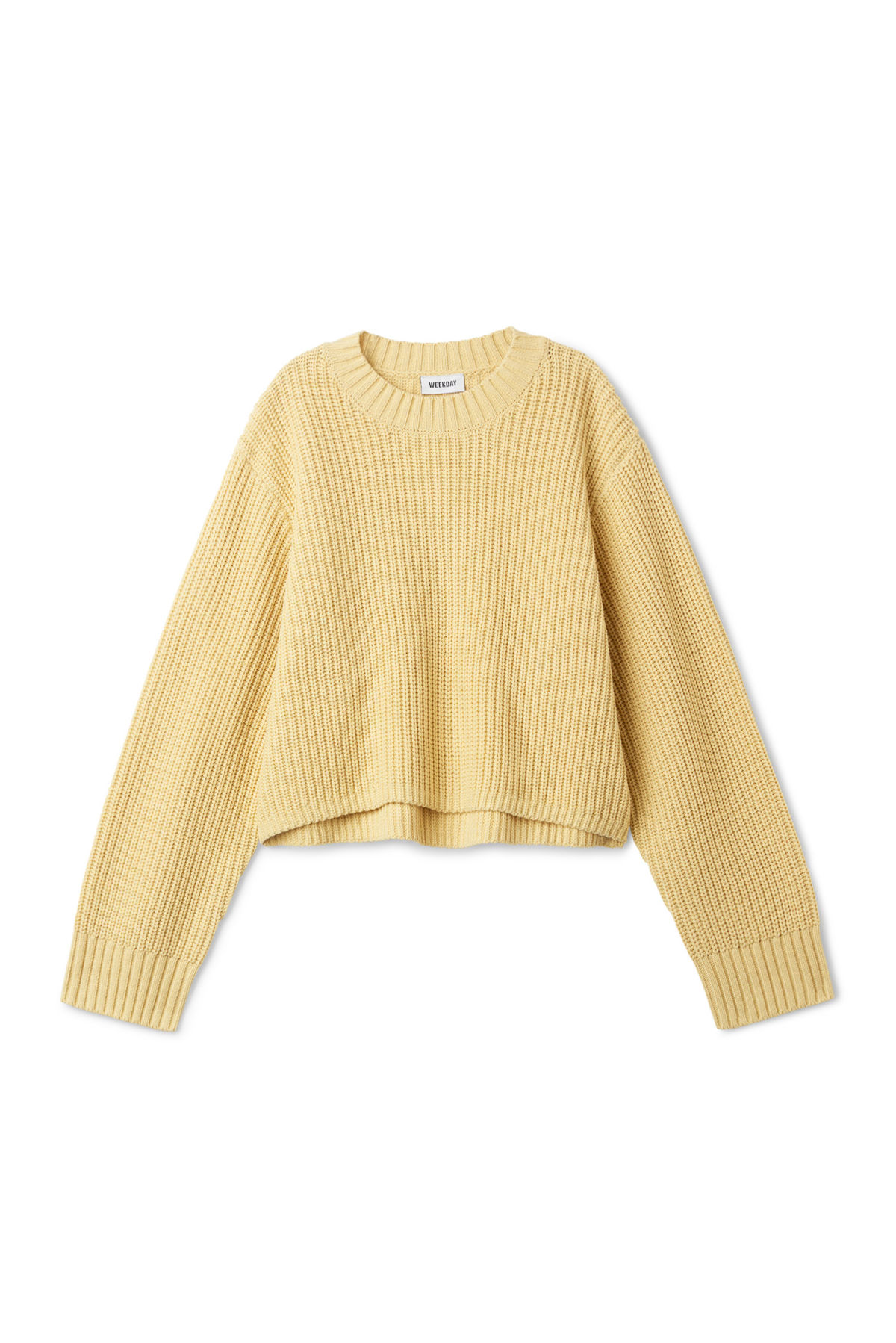 Front image of Weekday mahal sweater in yellow