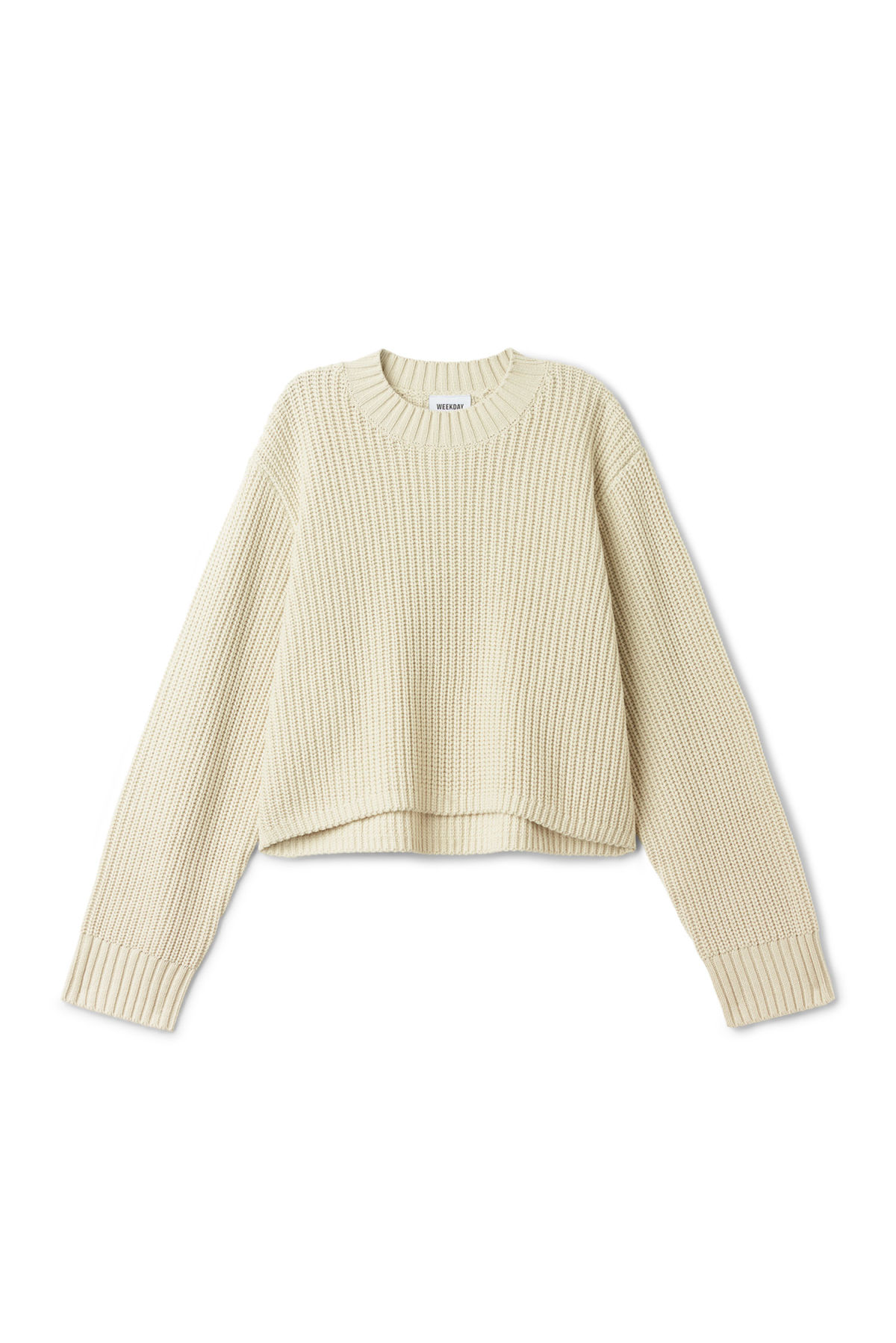 Front image of Weekday mahal sweater in beige