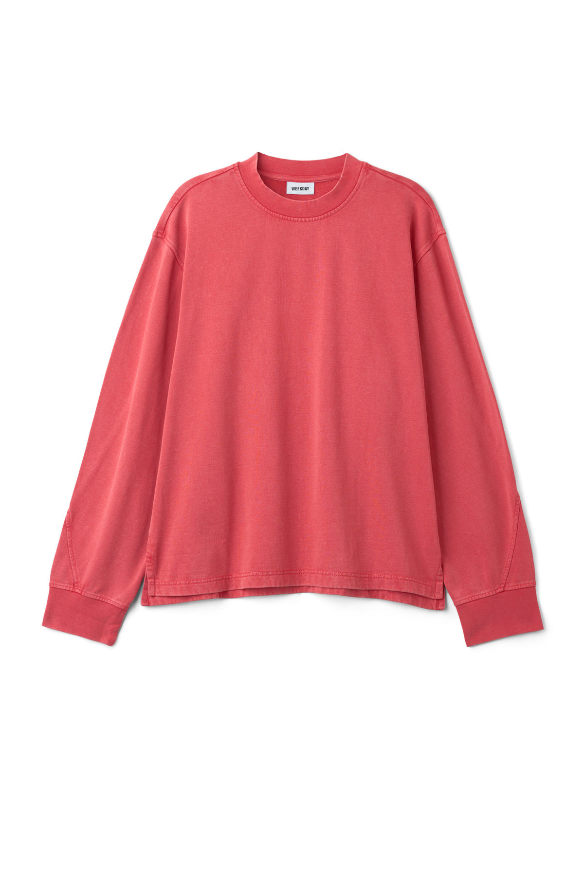 Front image of Weekday score sweatshirt in red