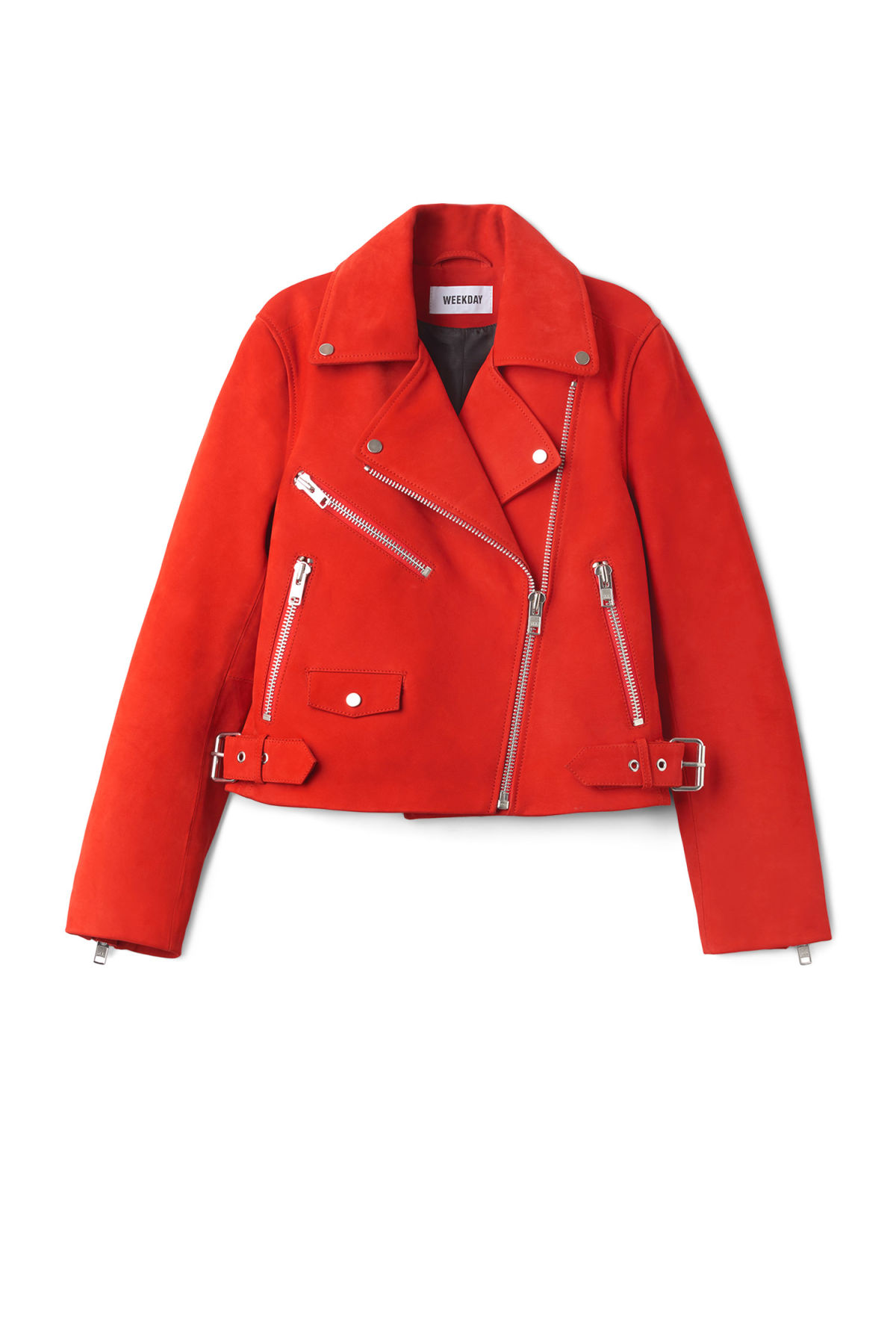Front image of Weekday jemina suede jacket in red