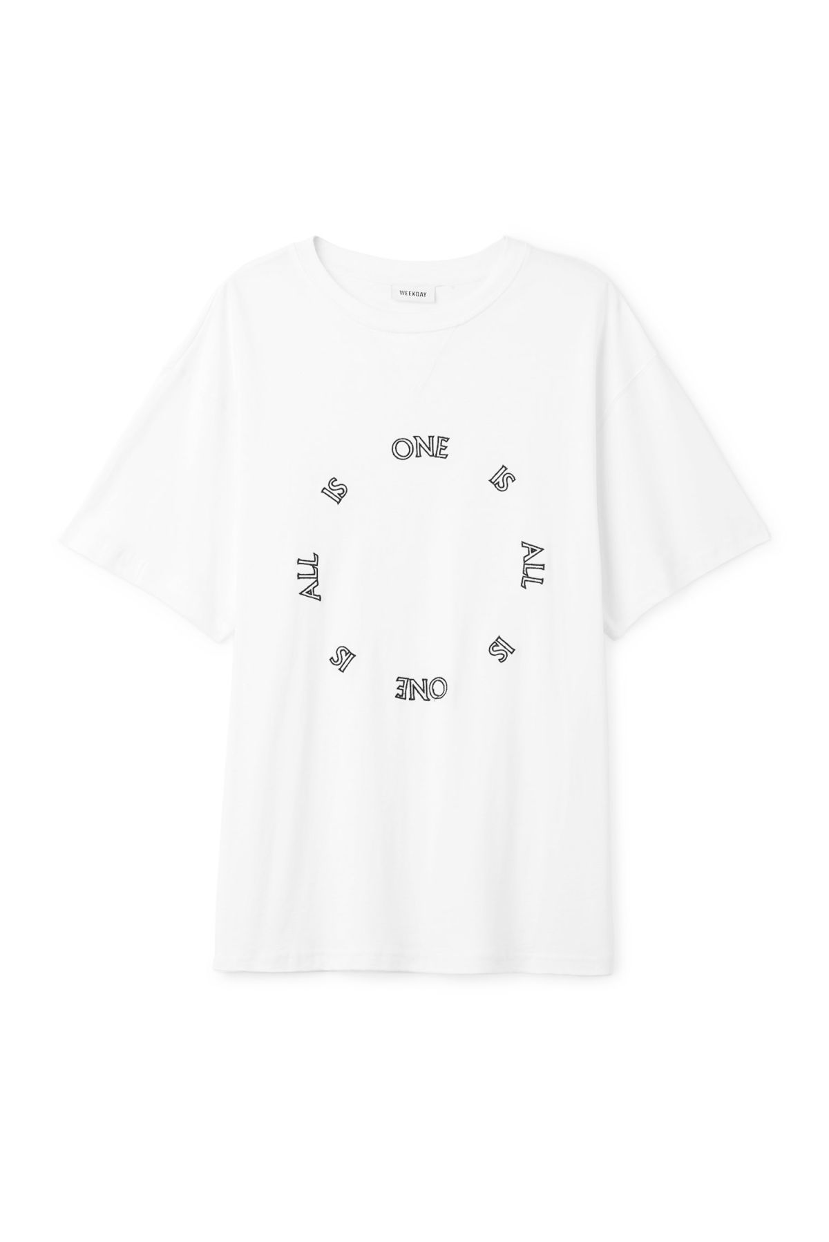 Front image of Weekday treta one is all t-shirt  in white