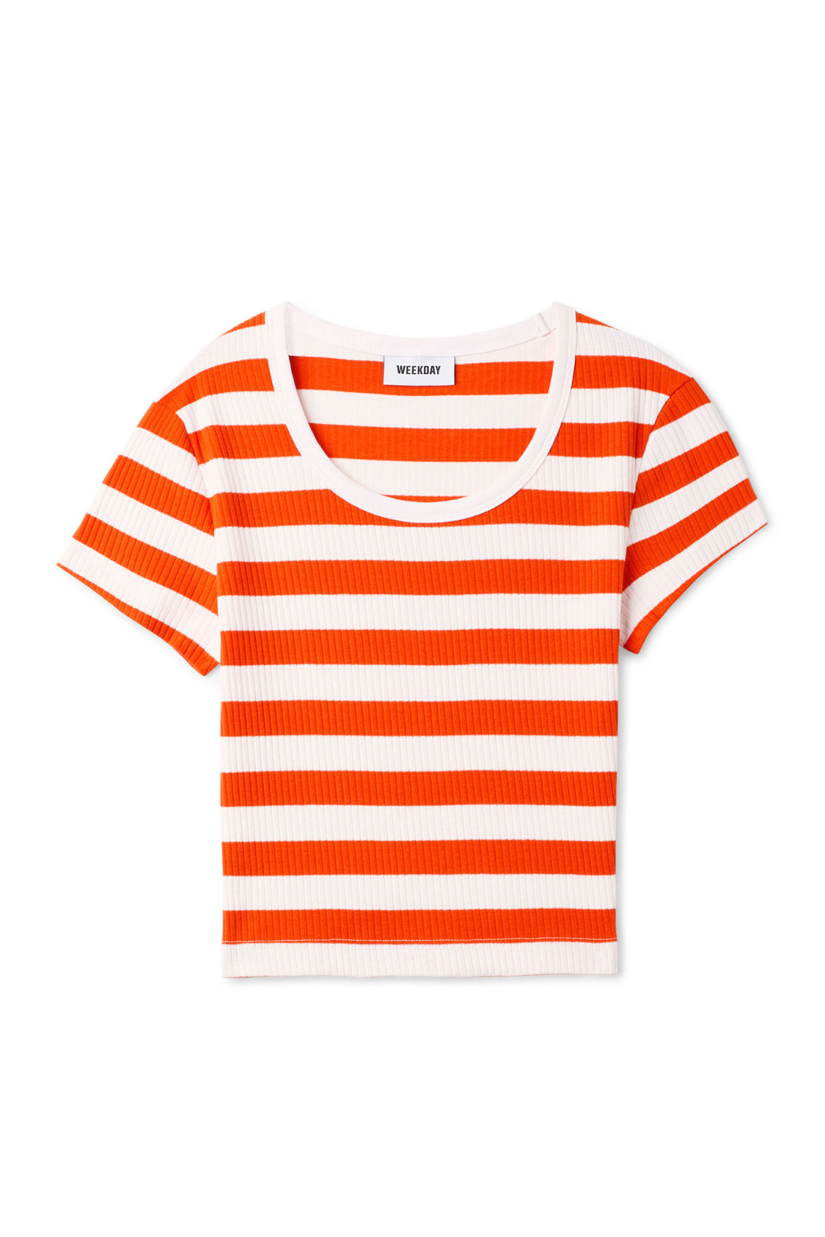 Front image of Weekday ratio t-shirt in orange