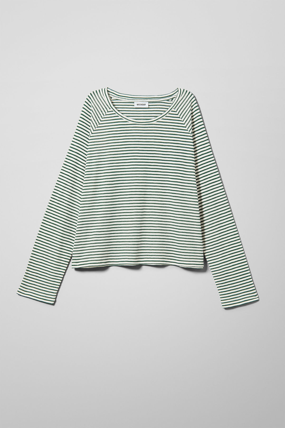 Front image of Weekday base boxy long sleeve  in green