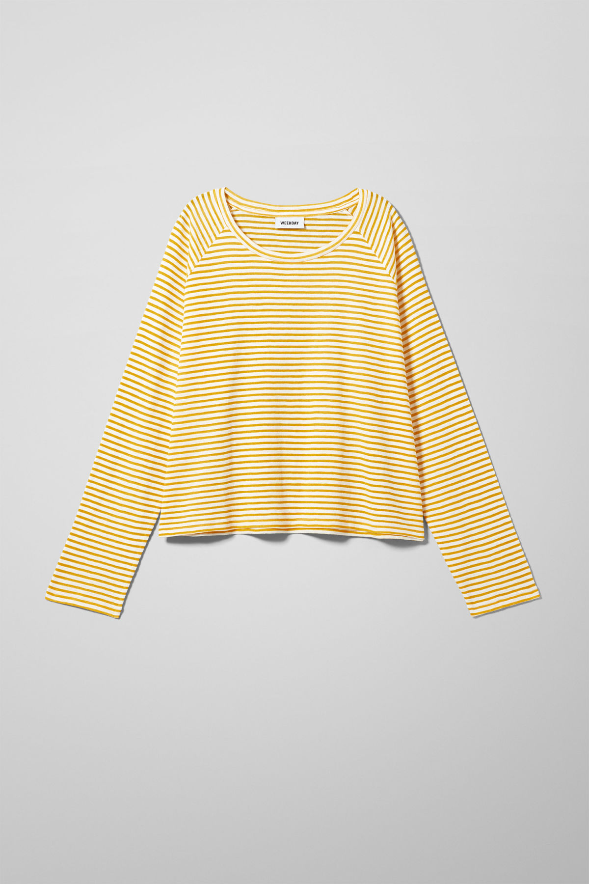 Front image of Weekday base boxy long sleeve  in yellow