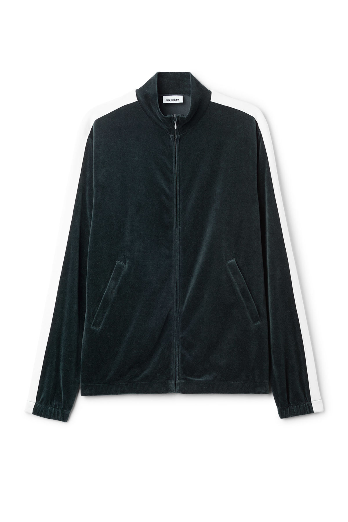 Front image of Weekday track velour sweatshirt  in blue