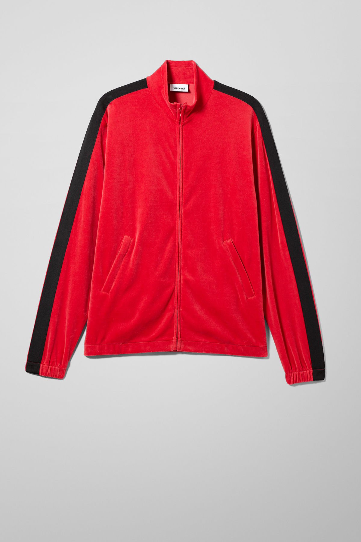 Front image of Weekday track velour sweatshirt  in red