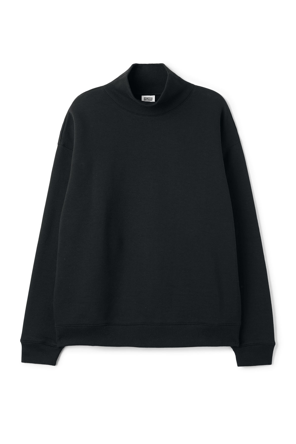 Front image of Weekday big turtleneck sweatshirt in black