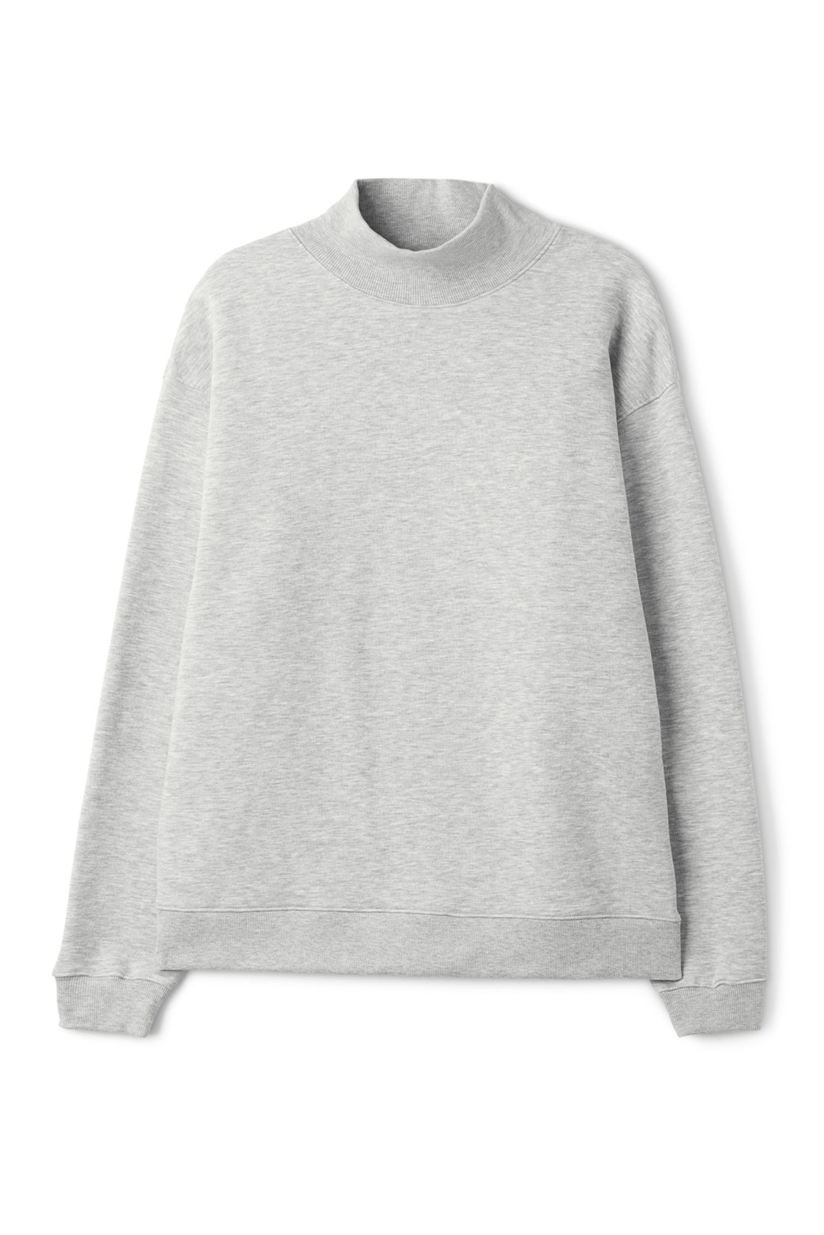 Front image of Weekday big turtleneck sweatshirt in grey