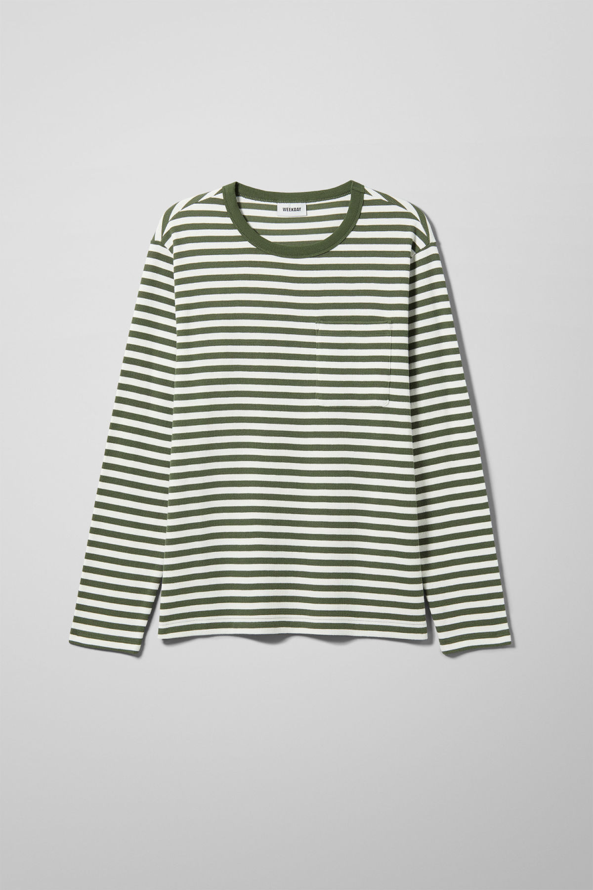 Front image of Weekday strip stripe long stripe in green
