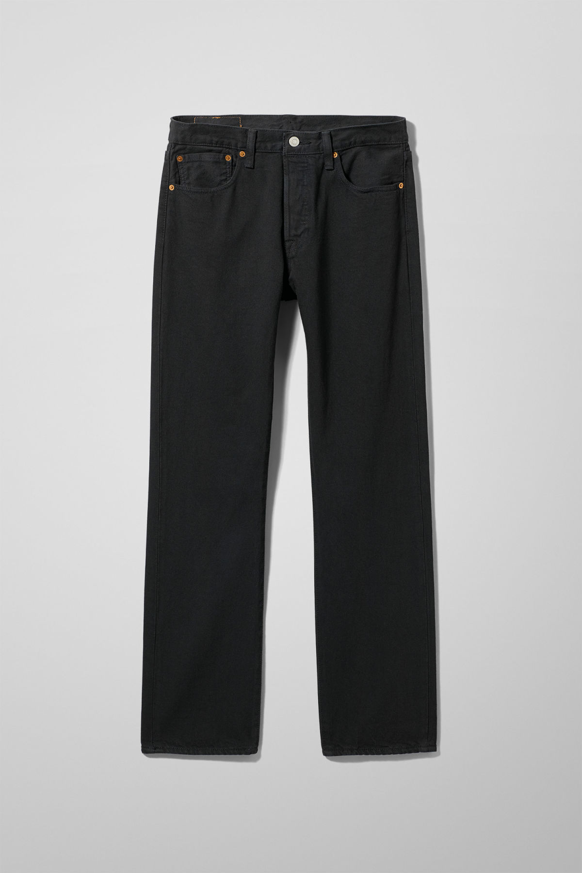 Front image of Weekday 501 original black jeans in black
