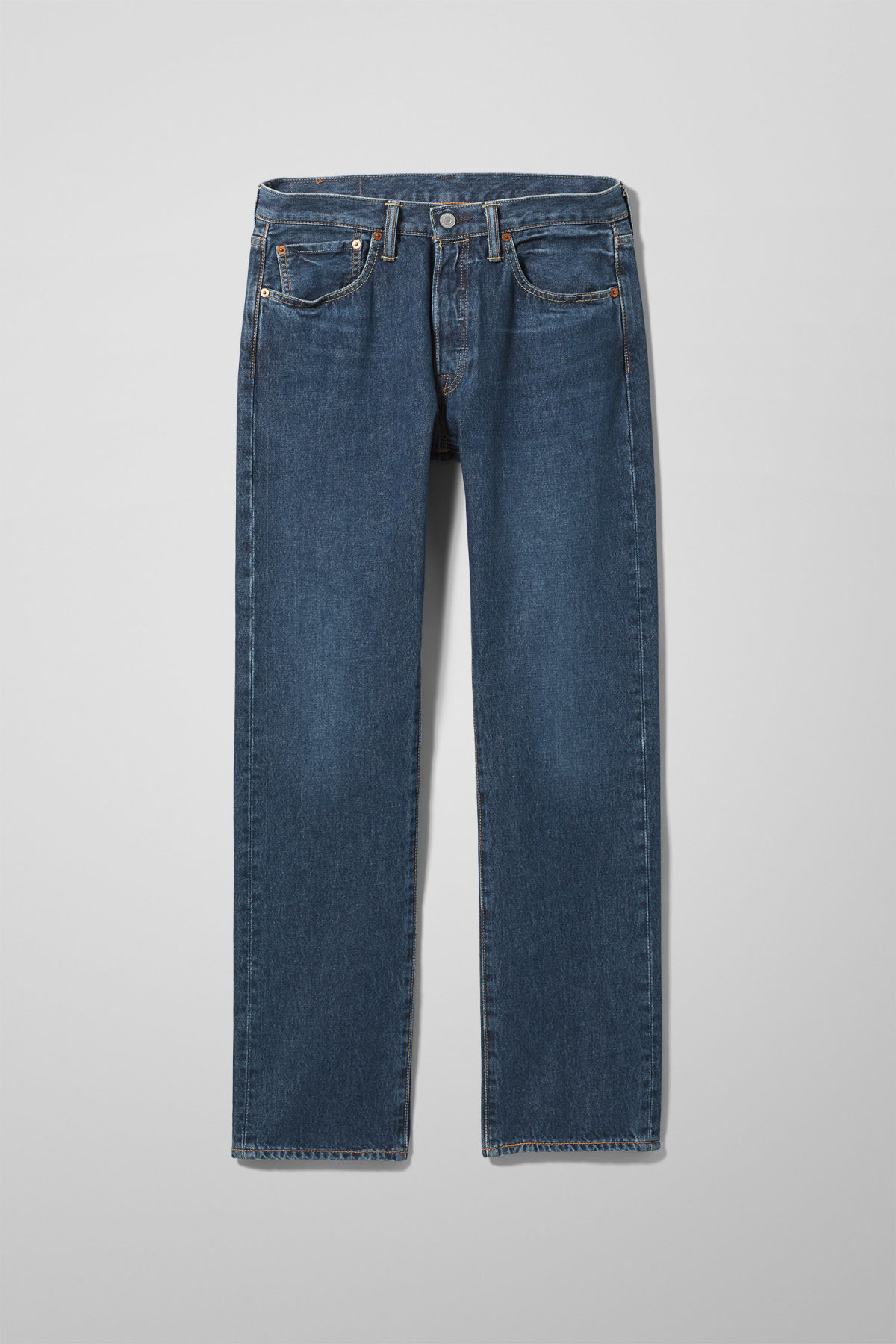 Front image of Weekday 501 original sub station jeans in blue