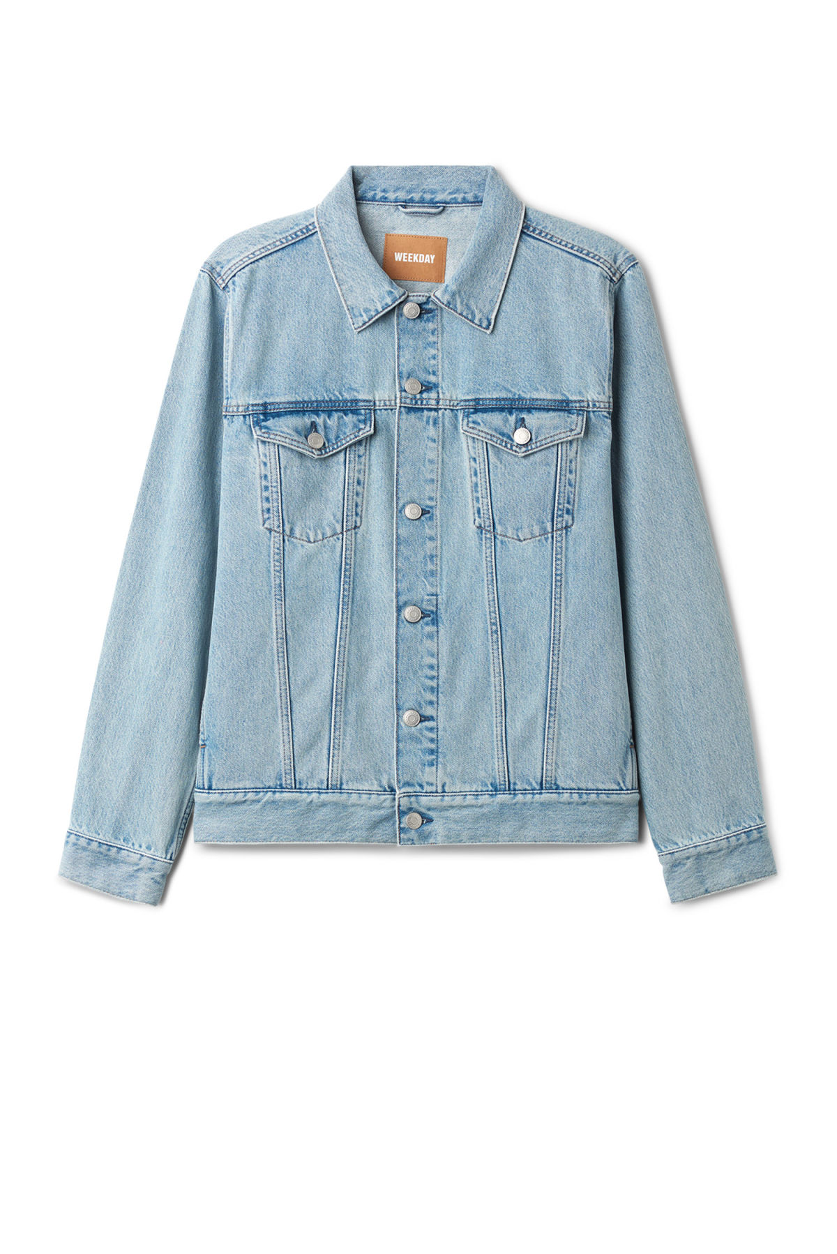 Front image of Weekday single jacket spring blue in blue