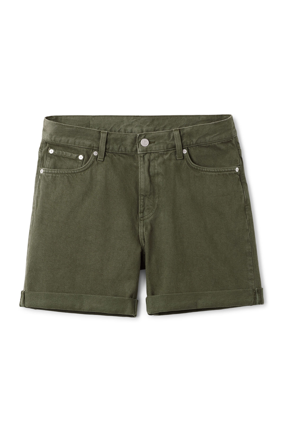 Front image of Weekday beach day verde shorts in green