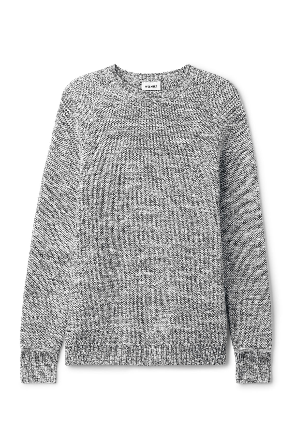 Front image of Weekday cave sweater in black