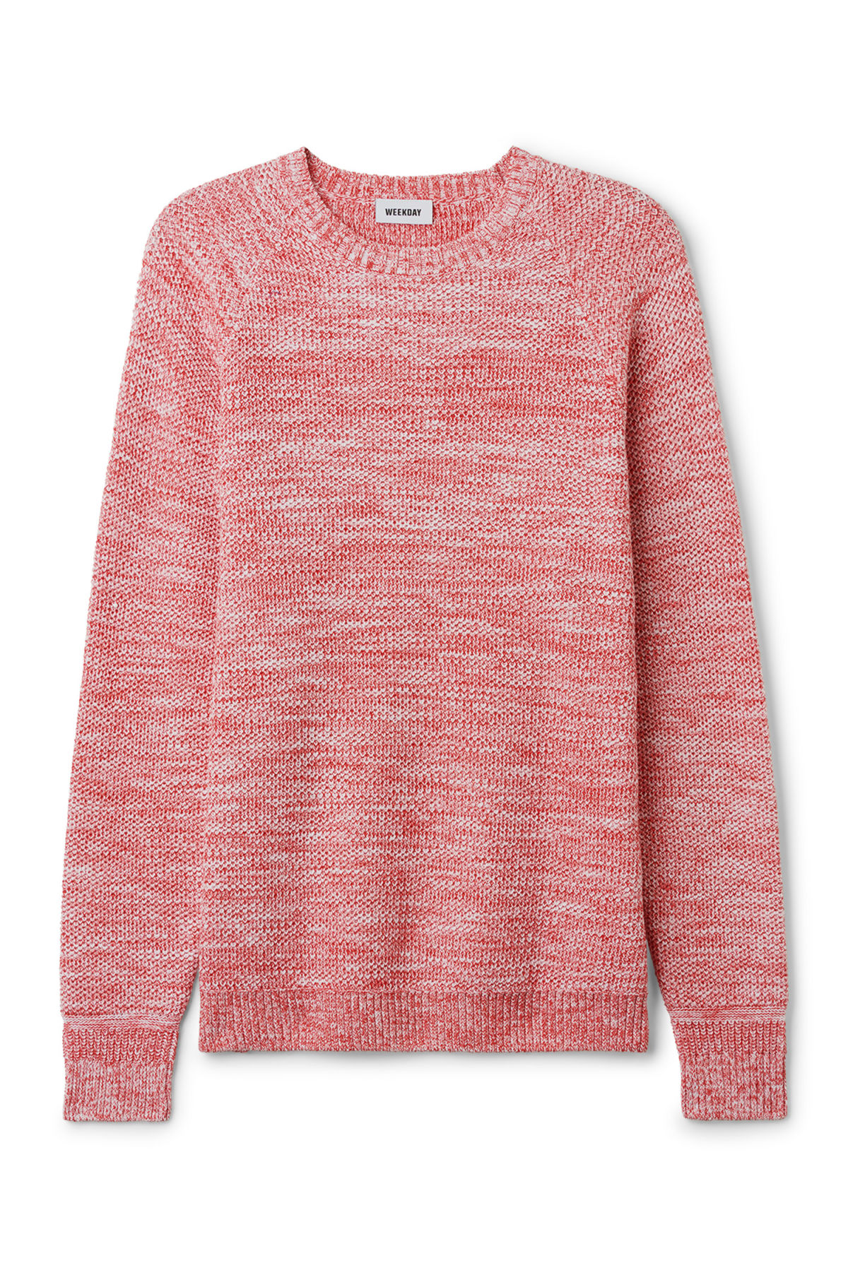 Front image of Weekday cave sweater in red