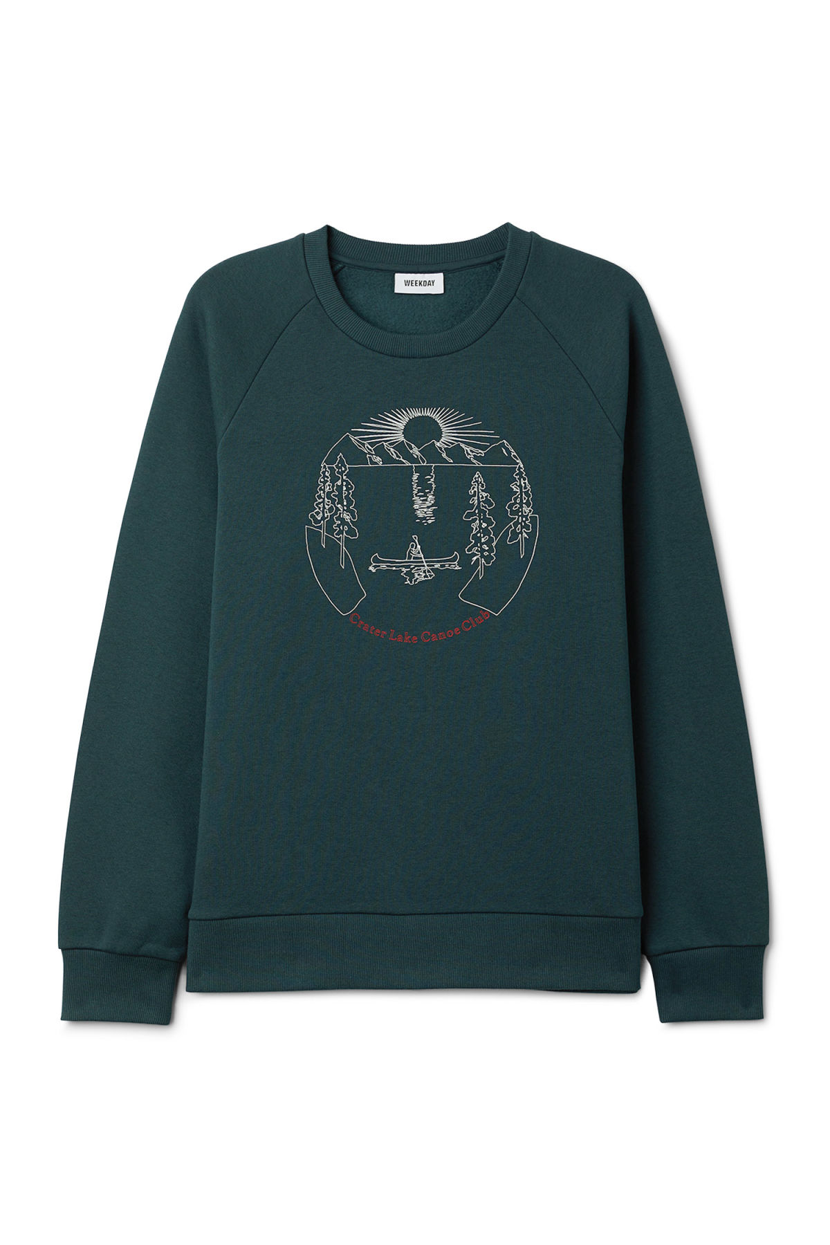 Front image of Weekday paris canoe sweatshirt in turquoise