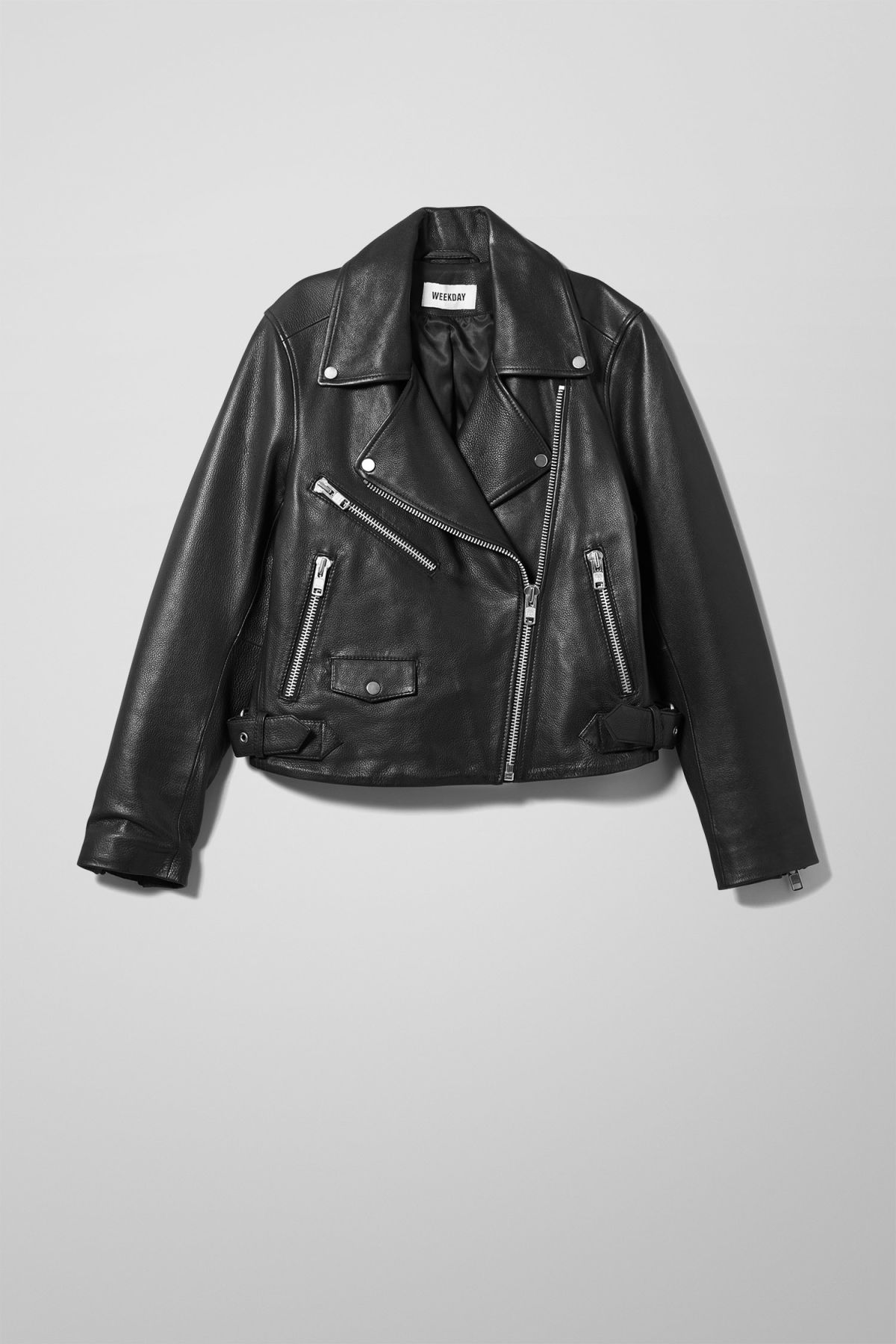 Front image of Weekday jemina biker jacket in black