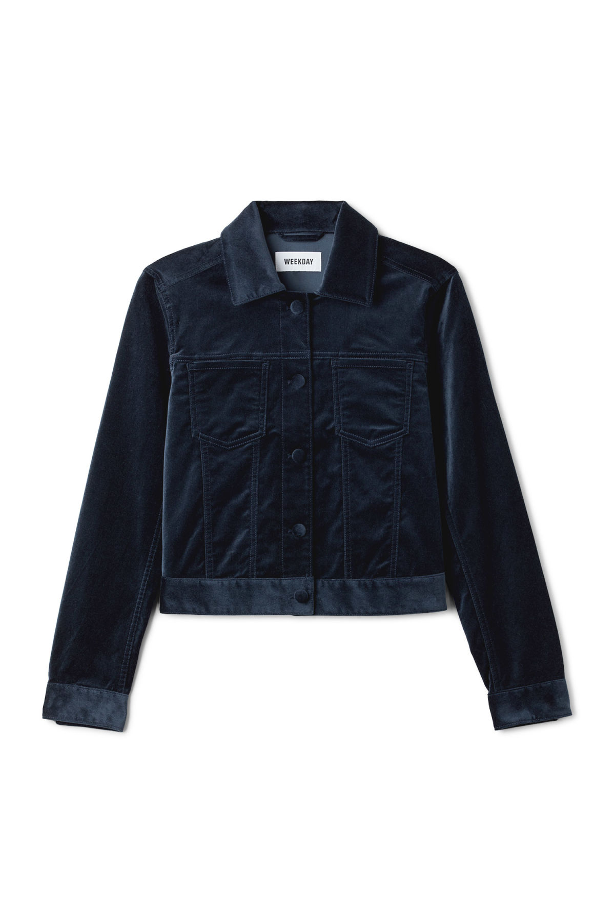 Front image of Weekday liza jacket in blue