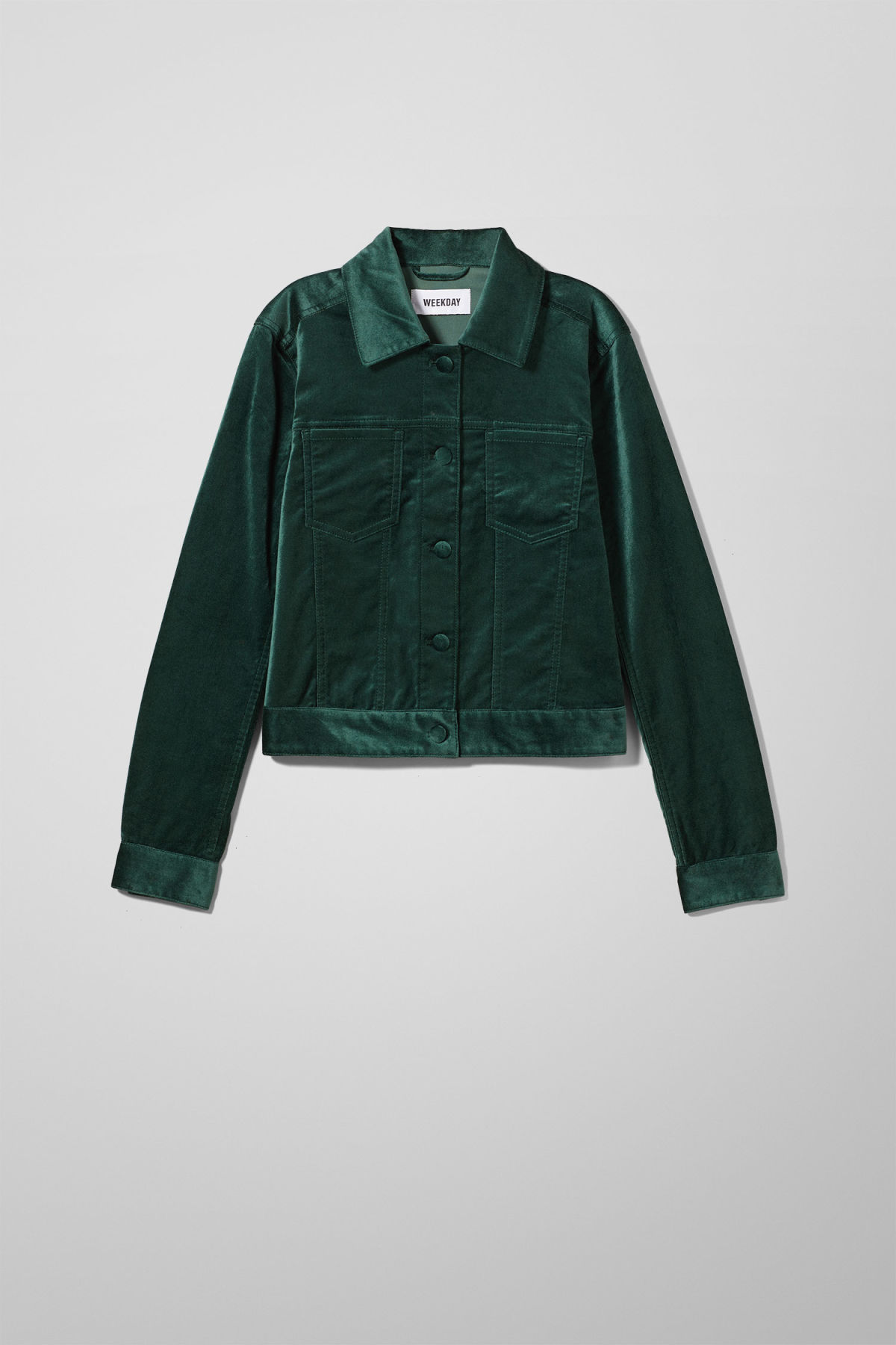 Front image of Weekday liza jacket in green