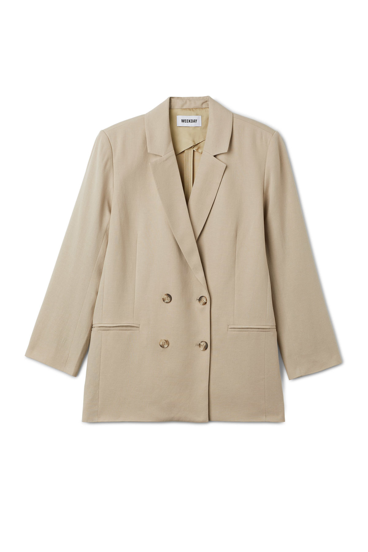 Front image of Weekday ink blazer in beige