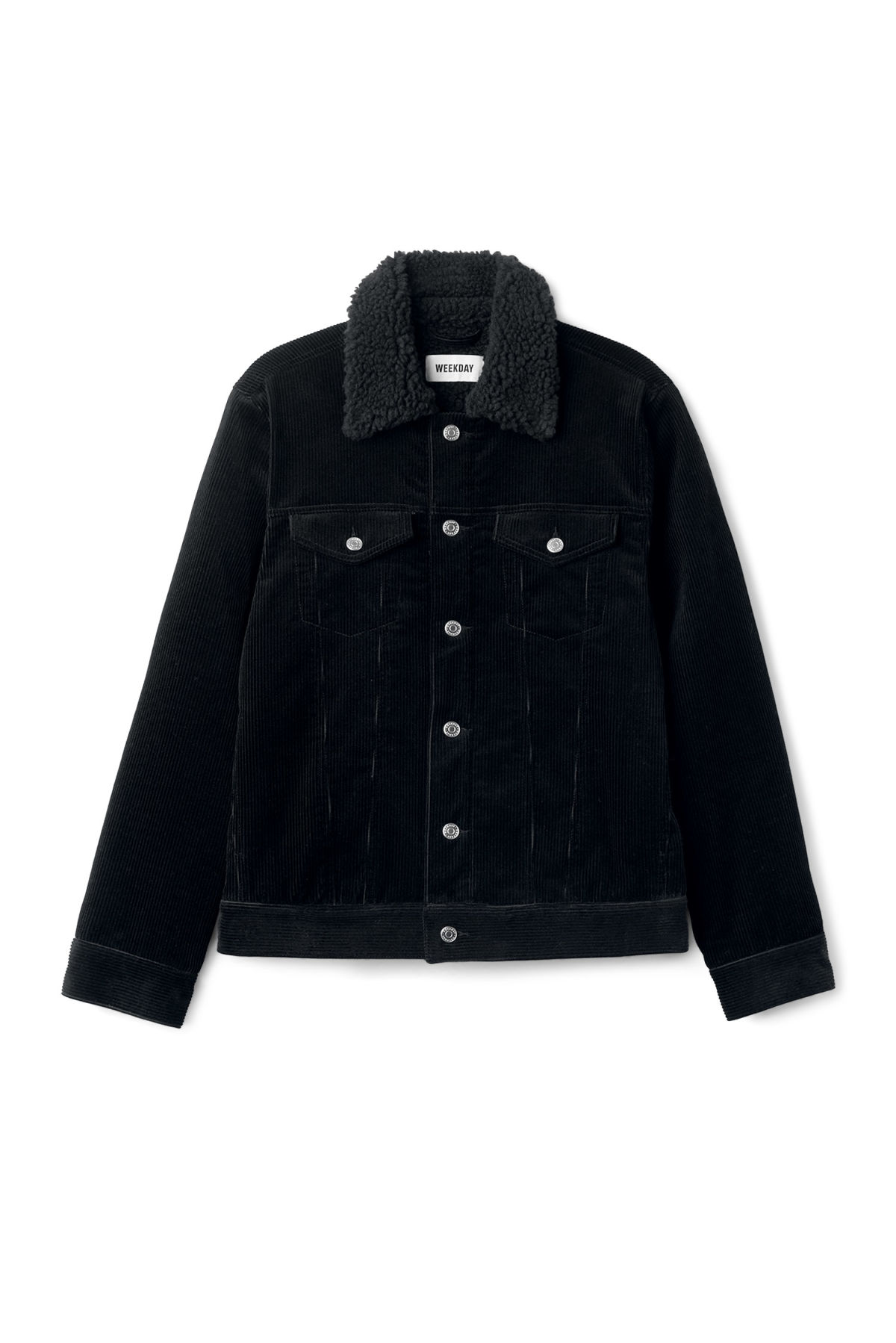 Front image of Weekday single cord pile jacket in black