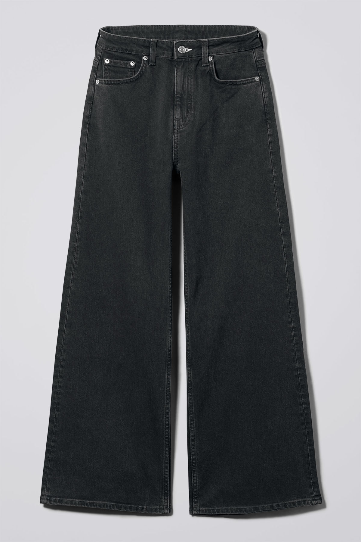 Front image of Weekday ace tuned black jeans in black