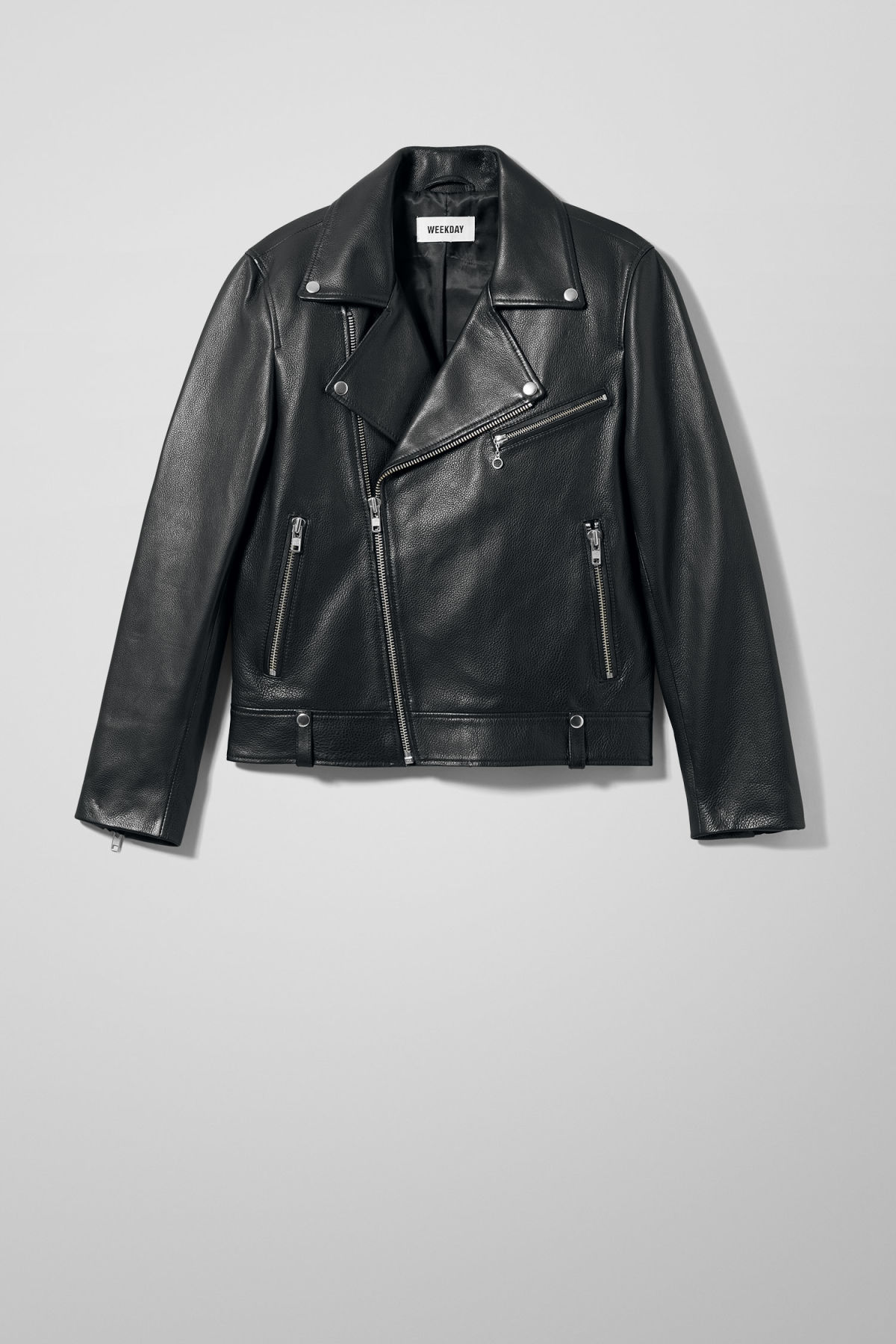 Front image of Weekday biker leather jacket in black