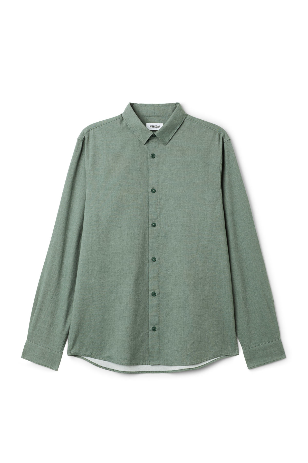 Front image of Weekday pablo shirt in green