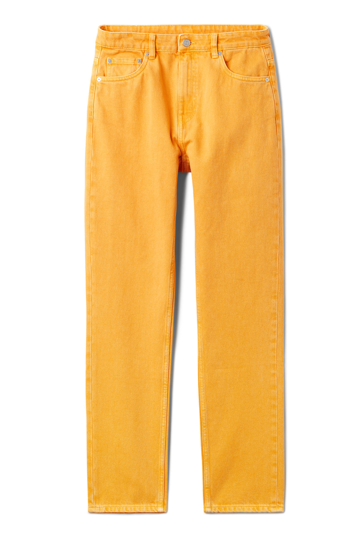 Front image of Weekday seattle yellow jeans in yellow