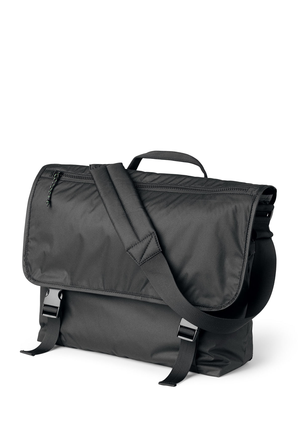 Front image of Weekday pluto messenger bag in black
