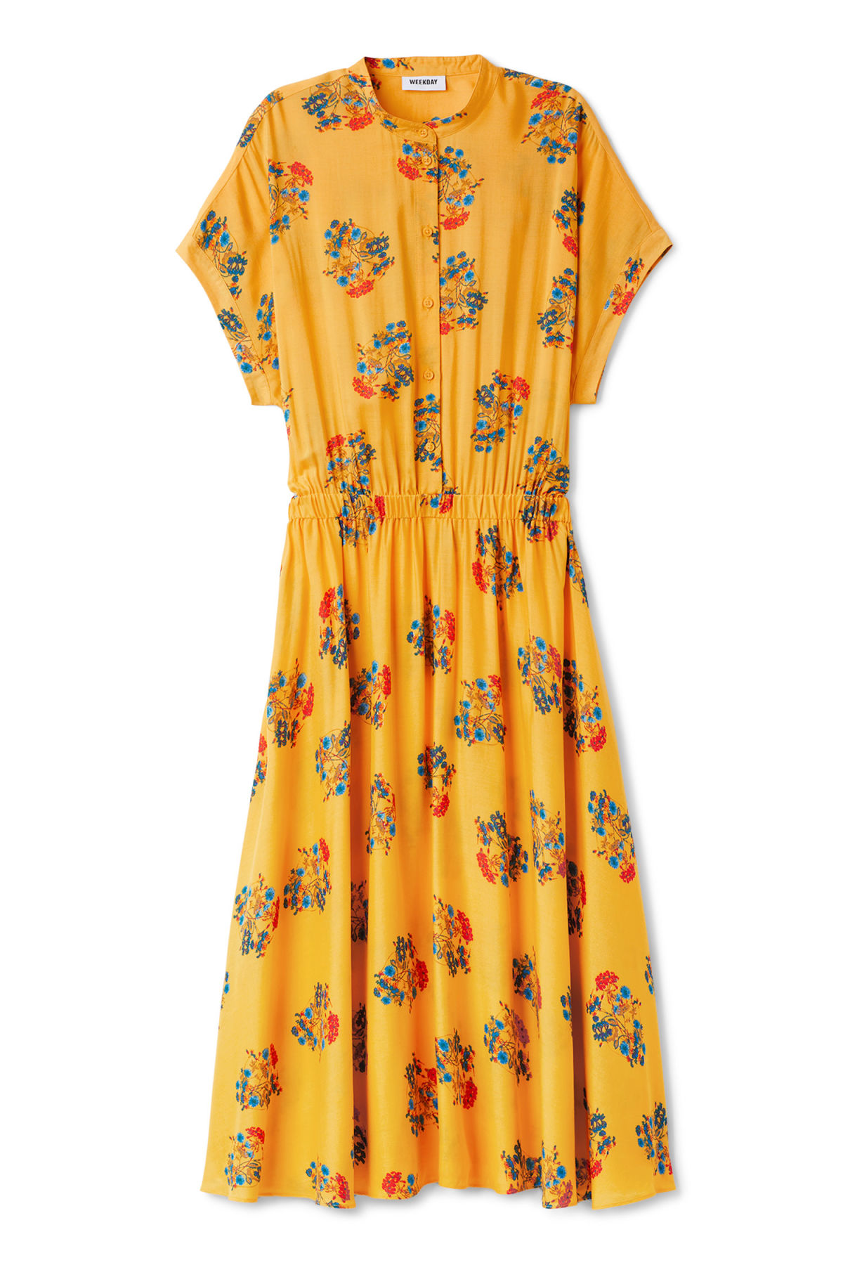 Front image of Weekday treble dress in yellow