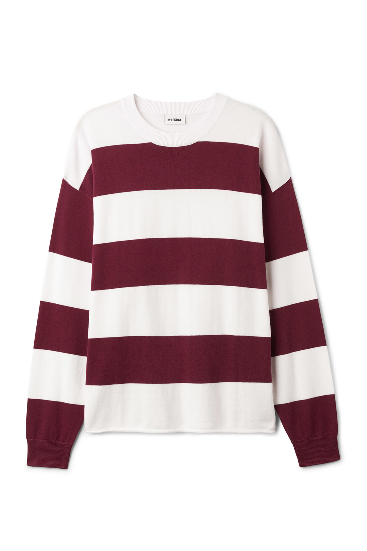 Front image of Weekday pyramid sweater in red