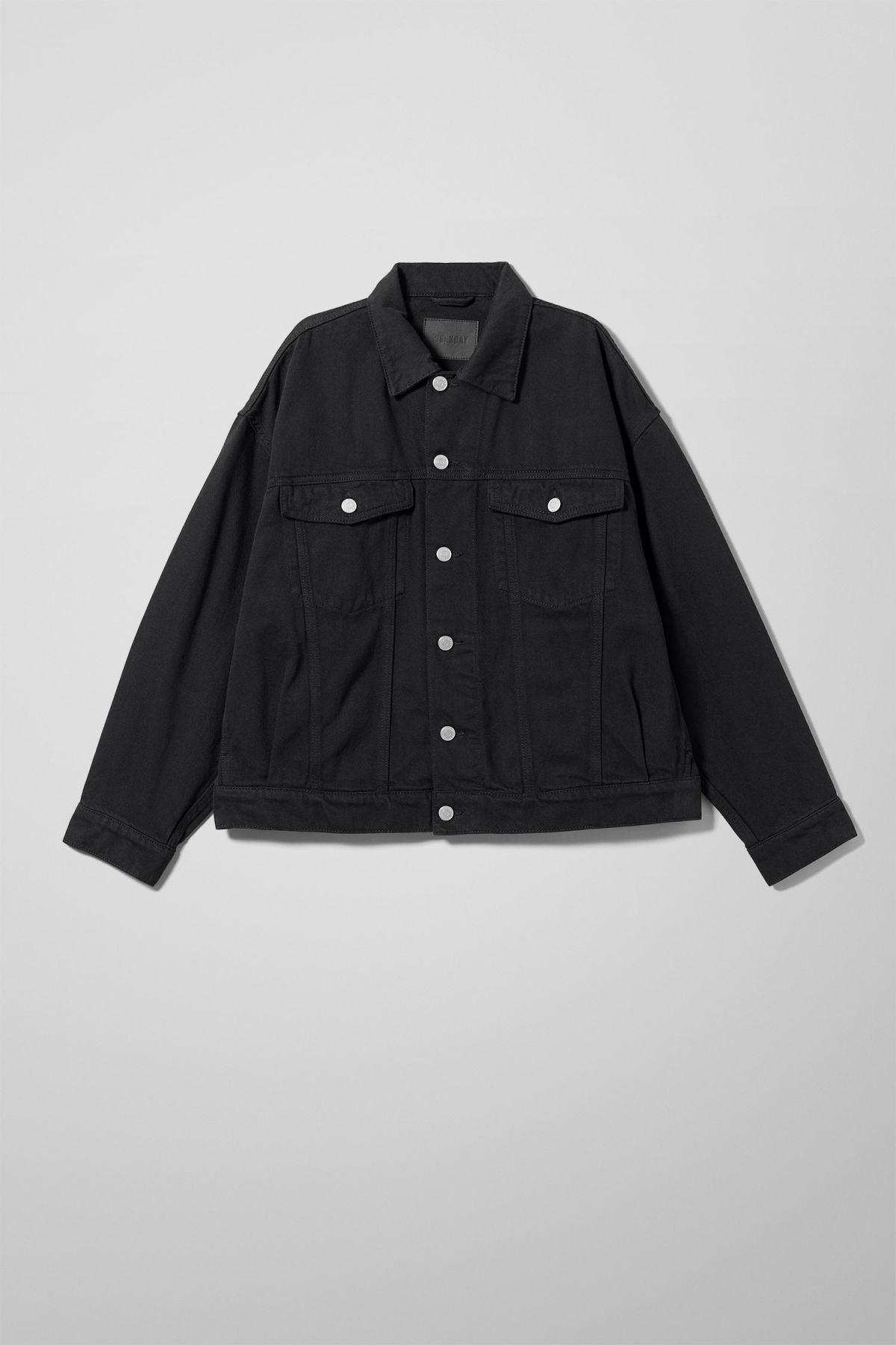 Front image of Weekday dune black jacket in black
