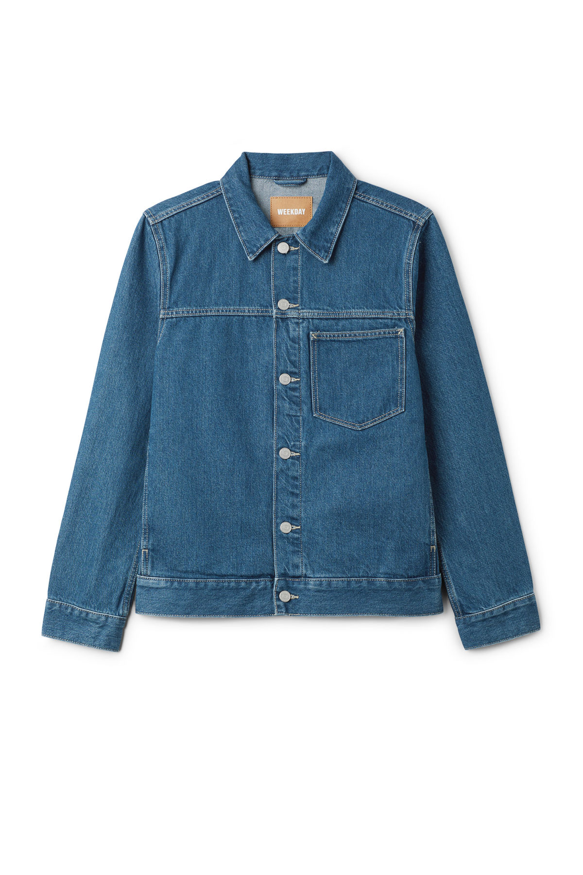 Front image of Weekday core laver blue denim jacket  in blue