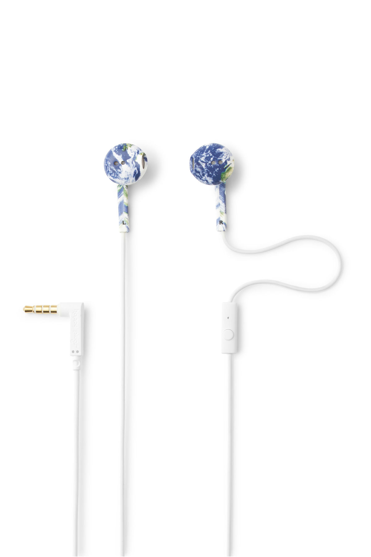 Front image of Weekday earth earphones in white