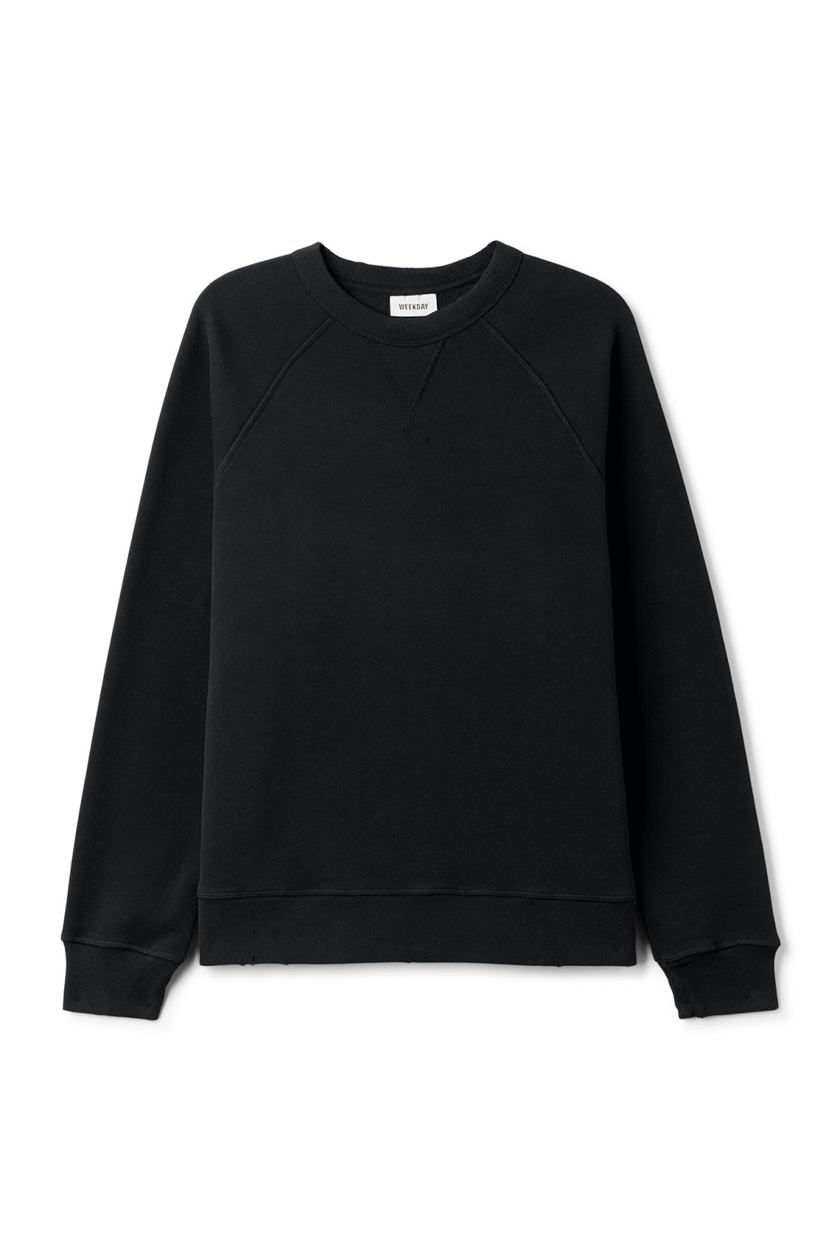 Front image of Weekday jaxon worn sweatshirt in black