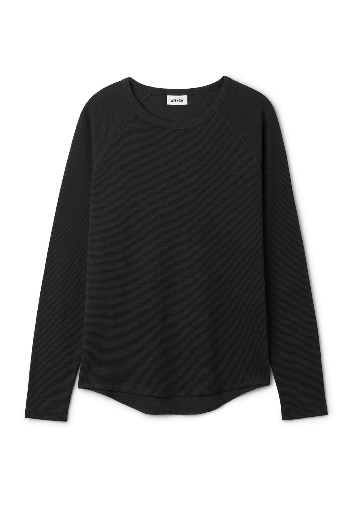 Front image of Weekday zic waffle long sleeve in black